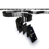 Line of dominoes falling