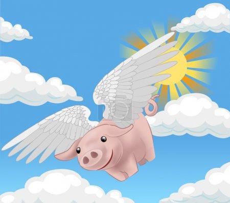 Illustration for A flying pig - Royalty Free Image