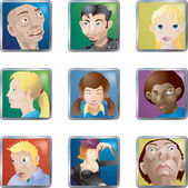 Lots of illustrations of faces avatars icons