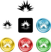 Several versions of an icon symbol of a stylised explosion