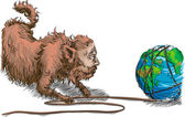 Conceptual piece big business fat cat unwinding the earth like a ball of twine Striping it of its natural resources