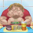 An obese man in fast food restaurant consuming jun...