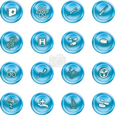 Illustration pour Un ensemble d'icônes liées à la médecine et à la science - image libre de droit
