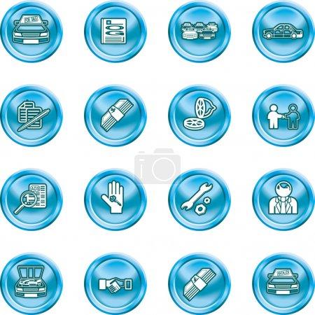 Illustration pour Icônes ou éléments de conception liés à l'achat d'une voiture . - image libre de droit