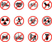 No icons A series set of icons all outlining things that are prohibited or being called on to be banned! Eg No talking no cycling no dogs no ball games e