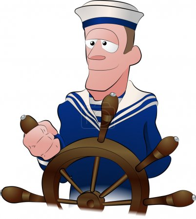 Illustration for An illustration of a handsome strong jawed sailor at the ships wheel - Royalty Free Image