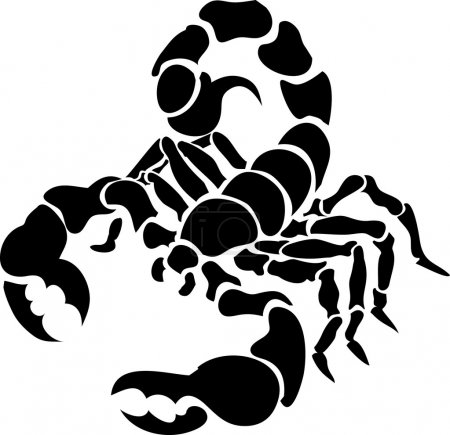 Illustration for Monochrome vector illustration of a stylised scorpion - Royalty Free Image