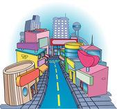 shoppig street Illustration