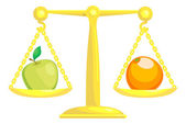 A concept vector illustration showing an apple and an orange on scales Attempting to compare apples and oranges