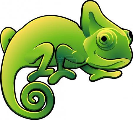 Cute Chameleon Vector Illustration