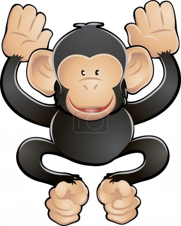 Illustration for A vector illustration of a cute friendly chimpanzee - Royalty Free Image