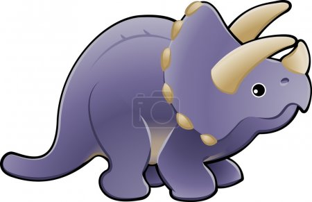 Illustration for A vector illustration of a cute friendly triceratops dinosaur - Royalty Free Image