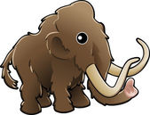 A vector illustration of a cute friendly woolly mammoth