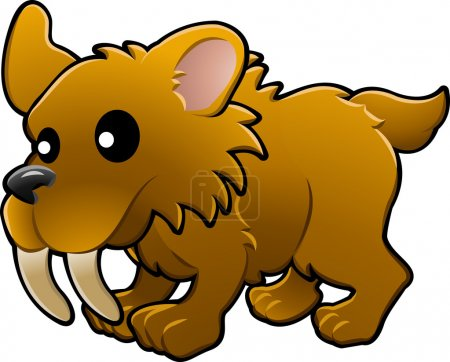 Illustration for A vector illustration of a cute friendly sabre tooth tiger - Royalty Free Image