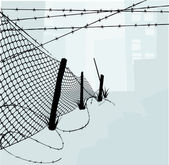 Chain Link Fence and Barbed Wire Vector Illustration