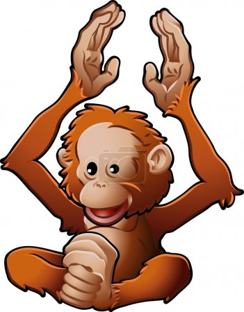 Illustration for A vector illustration of a cute friendly Orangutan - Royalty Free Image