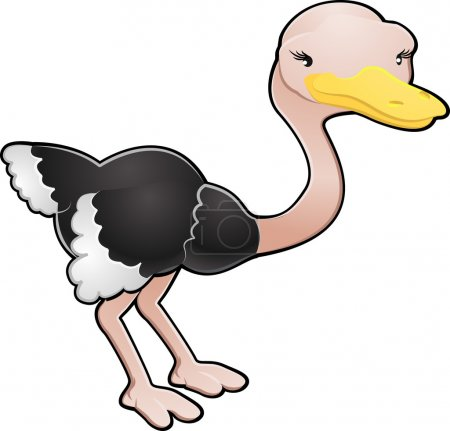 Illustration for A cartoon vector illustration of a cute ostrich bird - Royalty Free Image