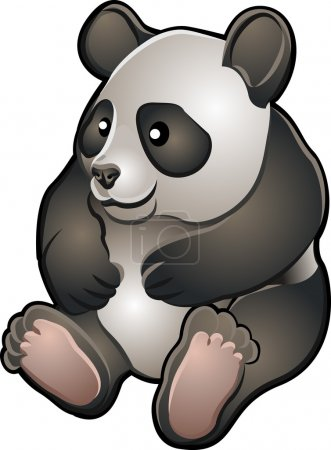 Illustration for A vector illustration of a cute friendly giant panda bear - Royalty Free Image