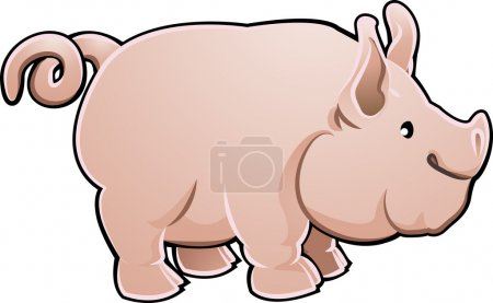 Illustration for A cute pig farm animal vector illustration - Royalty Free Image