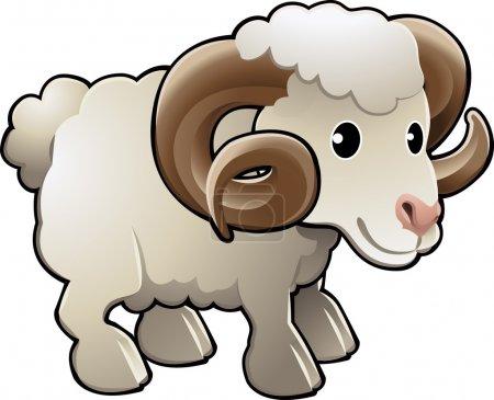 Cute Ram Sheep Farm Animal Vector Illustration