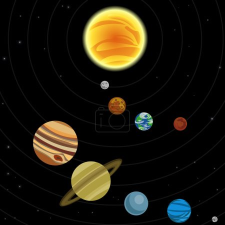 Illustration for Illustration of solar system with stars and planets - Royalty Free Image