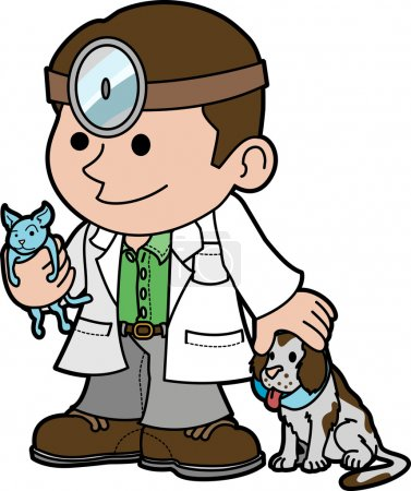 Illustration of veterinarian with animals