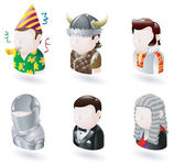 An avatar web or internet icon set series Includes a party man Viking elvis character knight james bond character and judge