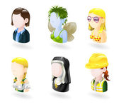 An avatar web or internet icon set series Includes female characters of business woman fairy or elf bikini girl german style waitress nun and female