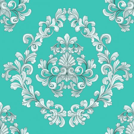 Illustration for Retro seamless tiling floral wallpaper pattern reminiscent of floral victorian designs inspired by greek and roman ornament - Royalty Free Image