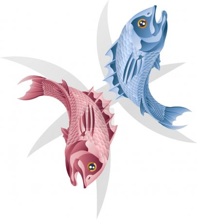 Illustration for Illustration representing Pisces the fish star or birth sign. Includes the symbol or icon in the background - Royalty Free Image