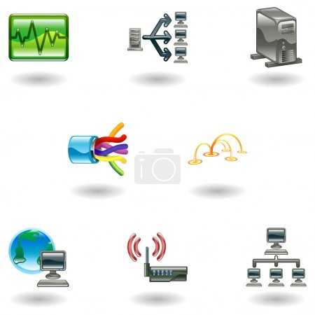 A glossy computer network and internet icon set...