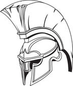 An illustration of Spartan roman greek trojan or gladiator helmet with plume