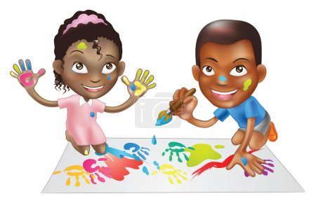 two children playing with paint