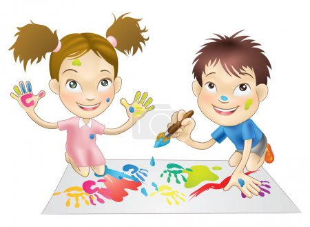 two young children playing with paints