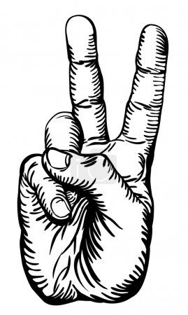 Illustration for A black and white illustration of the human hand giving the victory salute or peace sign - Royalty Free Image