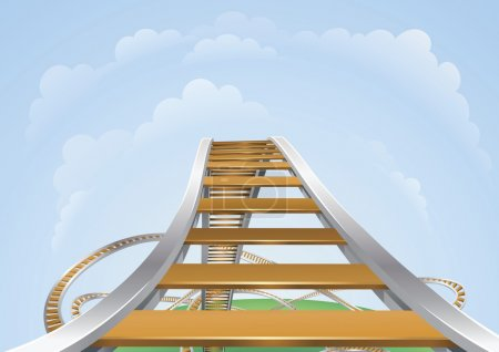 Illustration for Illustration of a roller coaster from the highest view. Conceptual highs and lows. - Royalty Free Image