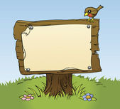 An illustration of a rustic wooden sign with copy space for your own text Surrounded by a bird and flowers for a perfect woodland scene