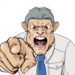 Illustration of a bullying boss shouting and point...