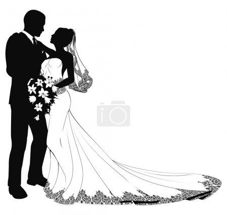 Illustration pour Un marié et une mariée le jour de leur mariage sur le point de s'embrasser en silhouette - image libre de droit