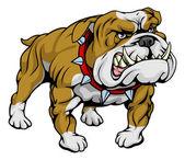 A cartoon very hard looking bulldog character