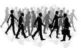 Business walking crowd rushing