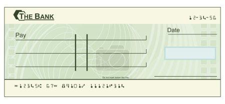 Illustration pour Illustration d'un chèque vert en blanc - image libre de droit