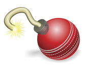 Retro cartoon cricket ball cherry bomb with lit fuse burning down Concept for countdown to big cricketing event or crisis