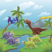 Cartoon dinosaurs scene