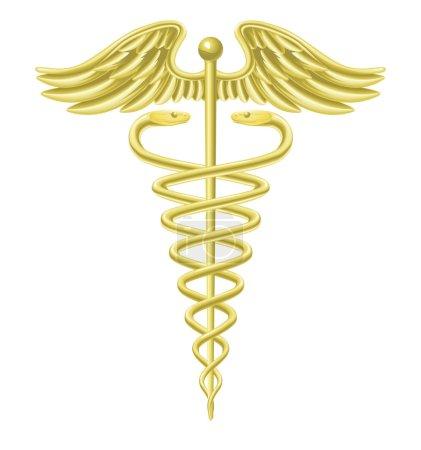 Photo pour Illustration du symbole d'un médecin caducée en or - image libre de droit
