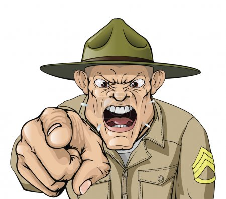 Illustration for Illustration of cartoon angry looking army drill sergeant shouting at the viewer - Royalty Free Image