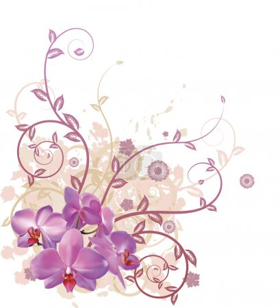 Illustration for A very stylish vector floral background illustration with pink orchid flowers. - Royalty Free Image