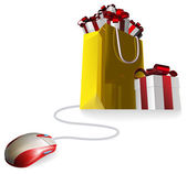 Mouse attached to a shopping bag with giftst concept Buying gifts by online shopping or being given gifts for surfing the web or buying online