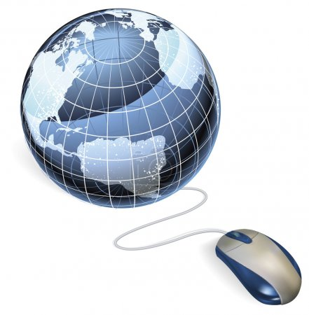 Illustration for Concept. A mouse connected to a world globe with arrow. - Royalty Free Image