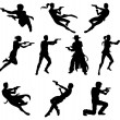 Silhouettes of movie action sequence shootout men ...